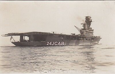 """Royal Navy Real Photo. HMS """"Hermes"""" Aircraft Carrier. Sunk by Japanese. c 1924"""