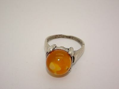 Antique Vintage Silver Natural Baltic Egg Yolk Butterscotch Amber Ring