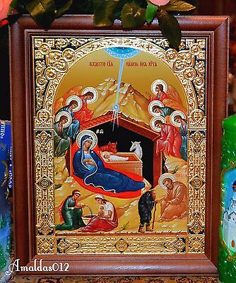 Christmas of Jesus Christ Russian Orthodox Icon Silver Gold Triple Embossing