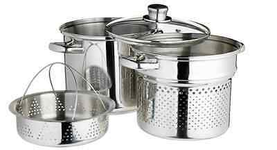 Kitchen Craft Stainless Steel Pasta Pot with Steamer Insert, 4 Litre, 20cm