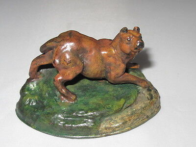 Victorian Antique Brown Cold Painted Spelter Terrier Type Dog Figure On Base