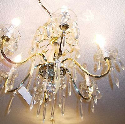 Vintage Schonbeck Gold and Crystal 6 Arm Chandelier:  Bay Area Salvage