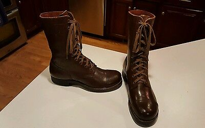 B.F.Goodrich Army Military Brown Leather Combat Boots Mens Size 7 D made in USA