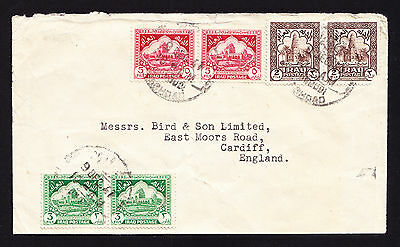 Early 1940s Iraqi stamps on Iraq cover from Baghdad to Cardiff England Creased