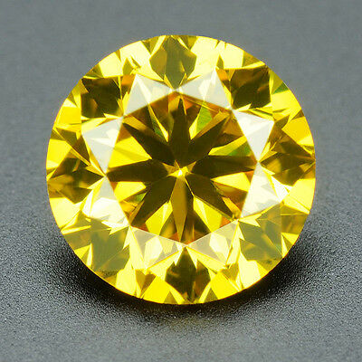 CERTIFIED .073 cts. Round Vivid Yellow Color VVS Loose Real/Natural Diamond 3D