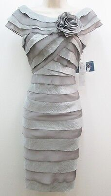 London Times Grey Hammered Satin Shutter Pleat Knee-Length Flower Bow Dress