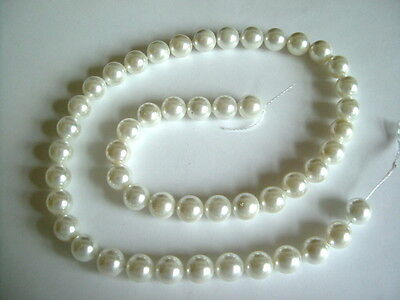 "15 1/2"" Strand - Grade A - White 8mm Shell Pearl Round Beads"