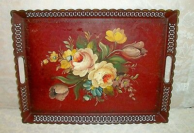 Vintage Large Hand Painted Metal Toleware Floral Serving Tray