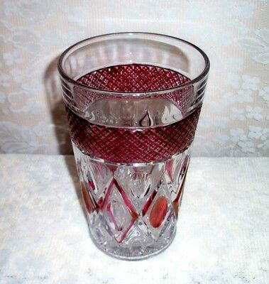 1940's Imperial Ruby Flash Glass 8.5 Inch Vase