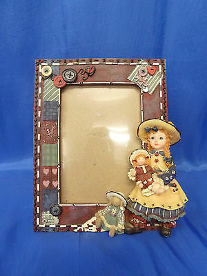 Old Australian Estate Vintage picture frame Girl and dolls Button and Bows