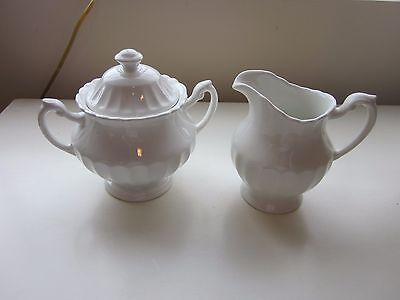 J & G Meakin Classic White Cream and Sugar Set made in England