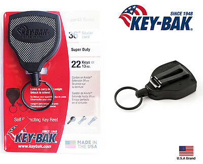 "Key-Bak SUPER48 Retractable Key Holder Belt Clip Convert Super Duty 36"" Kevlar"