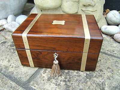Lovely 19C Figured Rosewood Antique Document/ Jewellery Box - Fab Interior