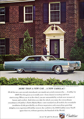 1965 Cadillac Coupe De Ville Retro A3 Poster Print From Advert 1965
