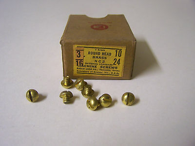 "10-24 x 3/16"" Round Head Solid Brass Machine Screw Slotted Made in USA -Qty. 144"