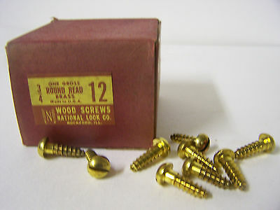 "#12 x 3/4"" Round Head Brass Wood Screws Solid Brass Slotted Made in USA Qty.90"