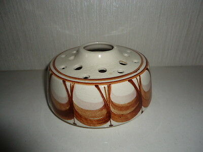 Pretty vintage Jersey Pottery flower frog, white with mid-century modern design