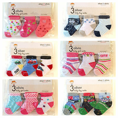 Baby girl boy socks presentation pack of 3 various designs colours 0-6 months