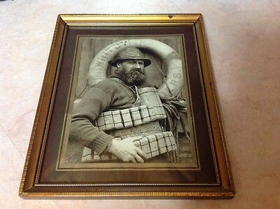 Old Original Framed Photograph Of Fisherman In Whitby