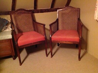 Pair Bergere Style Antique Armchairs