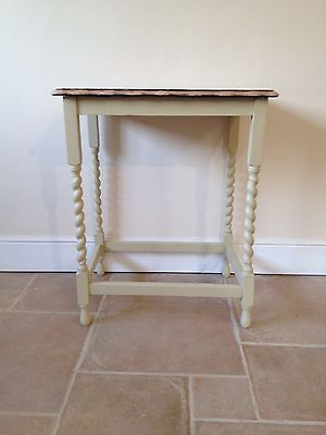 Hand painted vintage side table solid wood