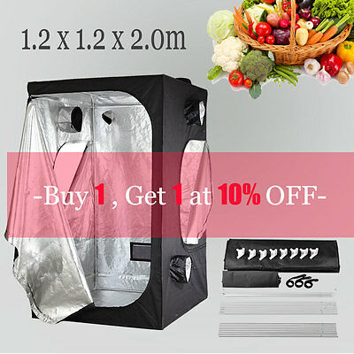 1.2x1.2x2.0cm Indoor Hydroponics Grow Tent Dark Room Box for 600w light kit