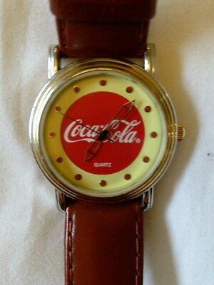 Coca-Cola Quartz Analog Watch With Brown Leather Band