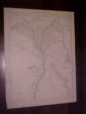Original Map 1916 Rand McNally World Atlas Egypt & Algeria-Tunis-Morocco