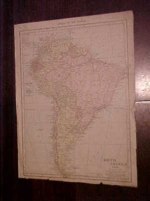 Original Map from 1916 Rand McNally World Atlas S. America & Isthmus of Panama