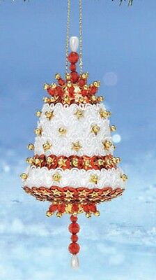 """Kit makes 2 Ornament """"Beautiful Bells"""" white red gold  Beads, Sequins"""