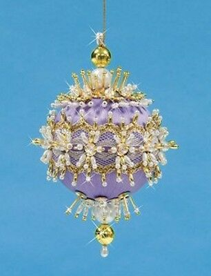 """Kit makes Collector Ornament """"Wisteria Wishes"""" Satin Ball Sequins Beads NEW"""