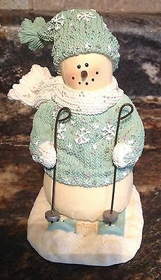Heather Hykes Plum Pudding Skiing Snowman Figurine