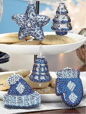 Kit makes 5 Winter Ice Christmas Ornaments  Beads,Sequins mitten, hat ,tree,star