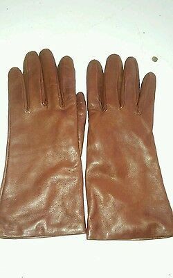 Brown leather Sim Italian Gloves ladies Size 7.5 Cashmere lining made in Italy