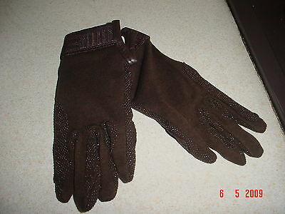 New Pair Of Medium Brown Cotton Riding Gloves