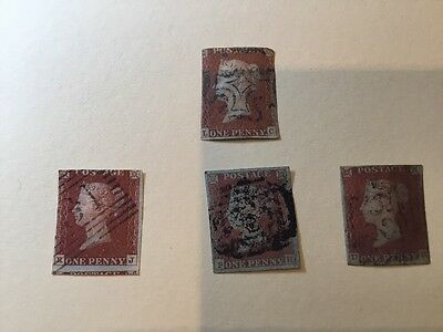 Queen Victoria 1d Red Stamps X 4 Imperforate Including Maltese Cross Stamp N64