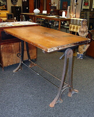 Antique 1900s Drafting Table w/ Cast Iron Legs, Industrial Table, Pine Top