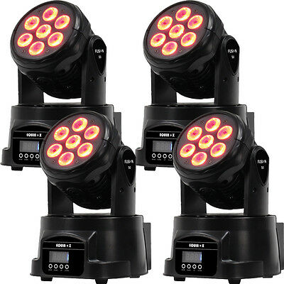 4 x Equinox Fusion 50 mk2 LED Moving heads with DMX and Power cables