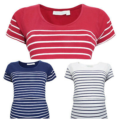 JoJo Maman Bébé Breton Stripe Breastfeeding Nursing T-Shirt Cotton RRP £26