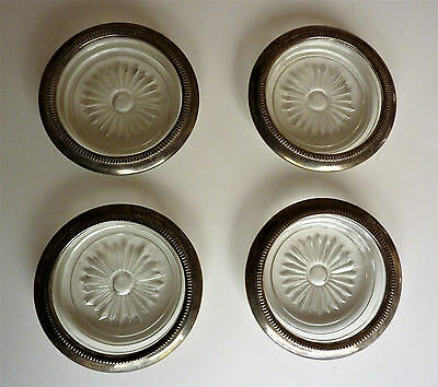 Set of 4 Vintage Glass Coasters Starburst Flower Midcentury