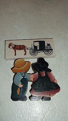 The Cat's Meow Mini Horse Drawn Amish Buggy & Boy Girl 2 pc lot set Vintage RARE