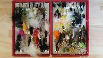 box of 130 mixed trout flies
