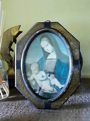 Really Old, Probably Antique Framed Religous Print Icon - Mother & Child