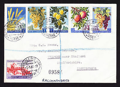 San Marino 1961 registered cover displaying Fruit theme design stamps to GB