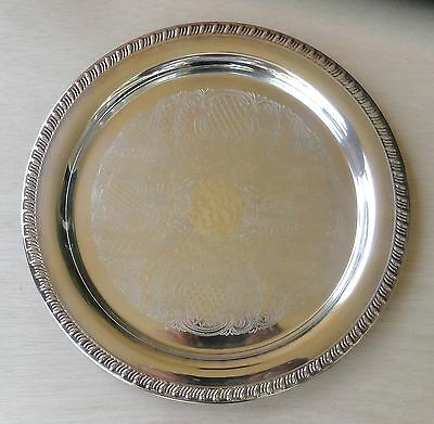 """Reduced To Sell!   12"""" Vintage Leonard Silverplate Round Tray"""