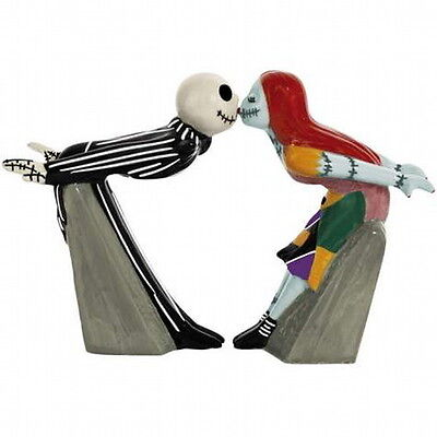 Nightmare Before Christmas Jack and Sally Kiss Ceramic Salt & Pepper Shakers NEW