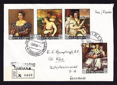 San Marino 1966 registered cover displaying Titian Paintings stamps to Germany