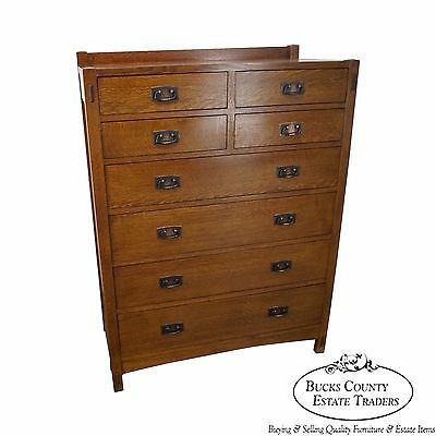 Stickley Mission Oak 8 Drawer Tall Chest