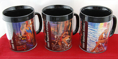 Snap On ToolMates Vintage 1989 Coffee Mugs, Thermo-Serv Sexy Girl, Set Of 3 NEW