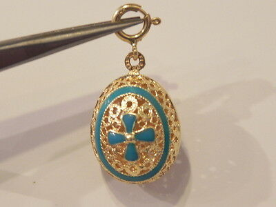 14k Yellow Gold Filigree Egg Blue Cross Charm Pendant With A Spring Ring Clasp